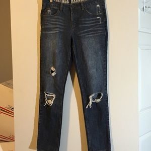 VINTAGE DISTRESSED JEANS SKINNY RIPPED DARK WASH